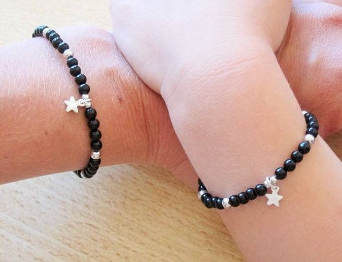 silver jewellery Silver Bracelet 'Black Onyx' with Heart