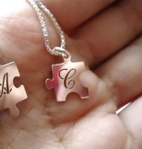Engraved jewellery Sterling Silver Personalised Jigsaw Piece Necklaces