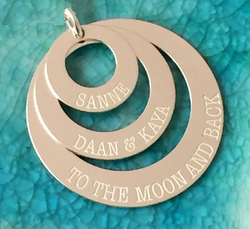 Engraved jewellery Personalised silver Pendant 'Triple Eternity'