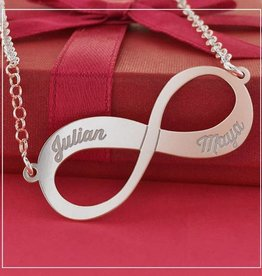 Engraved jewellery Silver Names4ever Engraved Necklace 'Infinity' 2 names