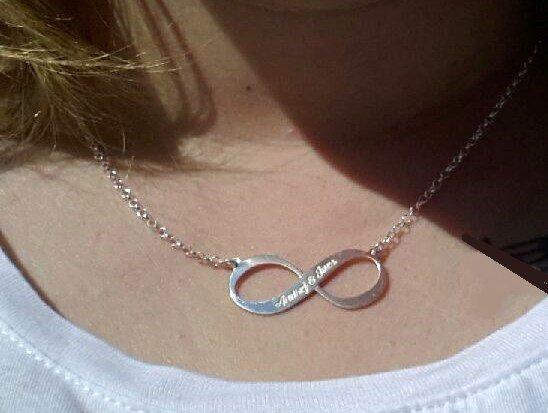 Engraved jewellery Silver Engraved Necklace 'Infinity' 2 names