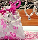 silver jewellery Silver & Pink Mum & Me necklace 'Key to my Heart'