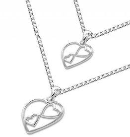 silver jewellery Silver Mum & Me necklace 'You're in my Heart'
