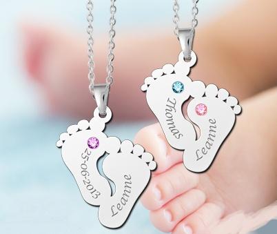 Engraved jewellery Birth stones in silver pendant 'Sweet Babyfeet'