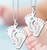 Engraved jewellery Birth stones in silver pendant 'Two names & Birthstones'