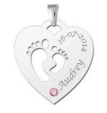 Engraved jewellery Birth stone in silver pendant 'Babyfeet Heart'