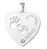 KAYA jewellery Birth stone in silver pendant 'Babyhands Heart'