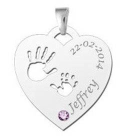 Engraved jewellery Names4ever Birth stone in silver pendant 'Babyhands Heart'