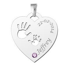 Engraved jewellery Birth stone in silver pendant 'Babyhands Heart'