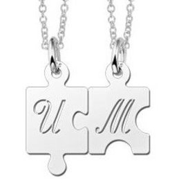 Engraved jewellery Names4ever Sterling Silver Personalised Jigsaw Piece Necklaces
