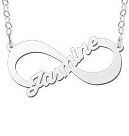 Engraved jewellery Silver Names4ever Infinity Necklace 'One Name'