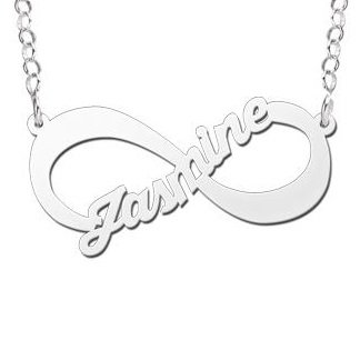 Engraved jewellery Silver Infinity Necklace 'One Name'
