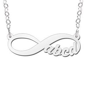 Engraved jewellery Silver Infinity Necklace '4 letters'