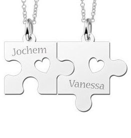 Engraved jewellery Names4ever Silver necklace Puzzle Pieces with Hearts