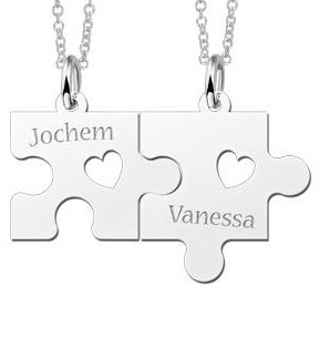 Engraved jewellery Silver necklace Puzzle Pieces with Hearts
