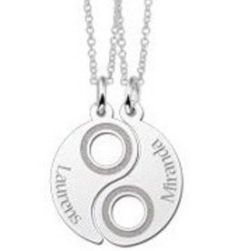 Engraved jewellery Names4ever Silver Yin Yang Friendship Necklace