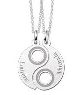 Engraved jewellery Silver Yin Yang Friendship Necklace