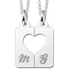 Engraved jewellery Names4ever Silver interlocking pendant 'Heart'