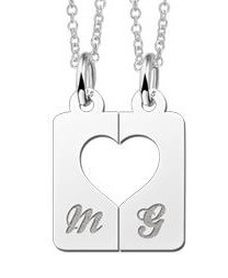 KAYA jewellery Silver interlocking pendant 'Heart'