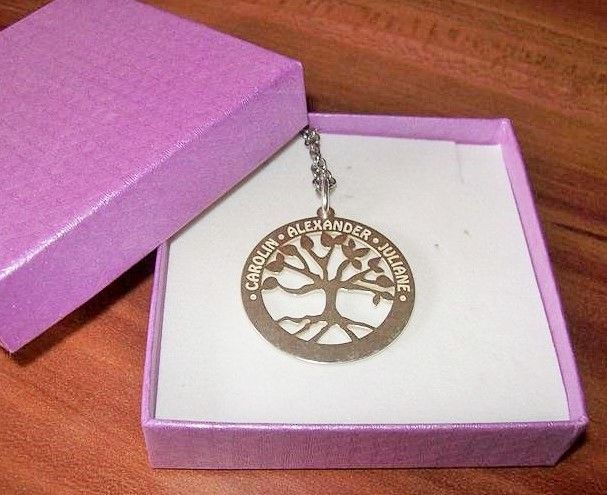 Engraved jewellery Silver Family Tree Pendant  with Engravement