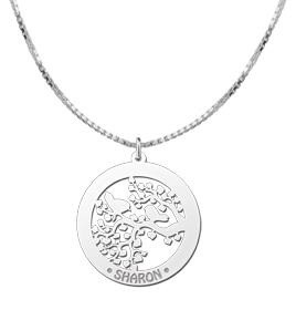 Engraved jewellery Silver Necklace with Engravement 'Birds'