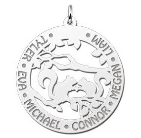 Engraved jewellery Silver Necklace with Engravement 'Squirrels'