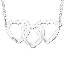 Engraved jewellery Silver necklace hearts 'Three Names'