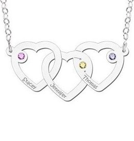 Engraved jewellery Silver necklace hearts 'Three Names & Birthstones'