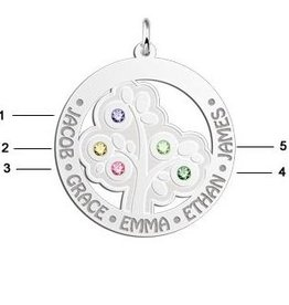 Engraved jewellery Names4ever Silver Pendant 'Tree of Life' with 5 Birth Stones
