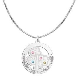 Engraved jewellery Silver Pendant 'Tree of Life' with 4 Birth Stones