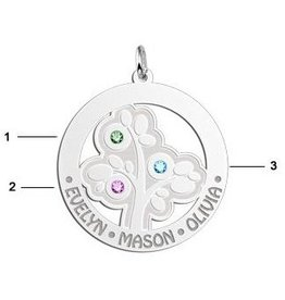 Engraved jewellery Names4ever Silver Pendant 'Tree of Life' with 3 Birth Stones