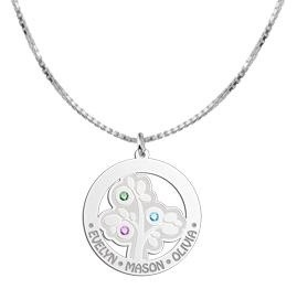 Engraved jewellery Silver Pendant 'Tree of Life' with 3 Birth Stones