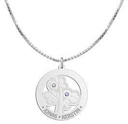 Engraved jewellery Silver Pendant 'Tree of Life' with 2 Birth Stones