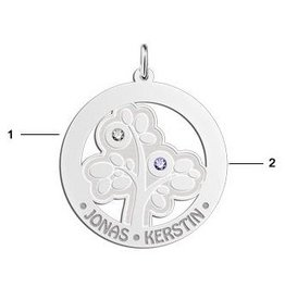 Engraved jewellery Names4ever Silver Pendant 'Tree of Life' with 2 Birth Stones