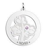 Engraved jewellery Silver Pendant 'Tree of Life' with 1 Birth Stone