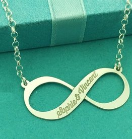 Engraved jewellery Silver Names4ever Engraved Necklace 'Infinity' for 1 or 2 names