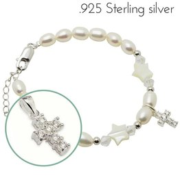Midnight star (silver) Silver Girls Bracelet 'Midnight Star' Crystal Cross