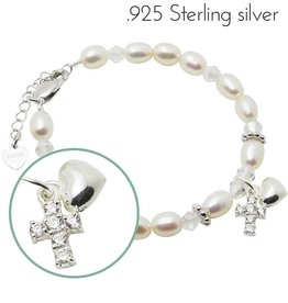 Midnight star (silver) Silver Bracelet 'Sparkles' Crystal Cross & Heart