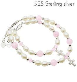 Little Diva (silver) Silver Mum & Me Bracelets 'Bubbles' Crystal Cross