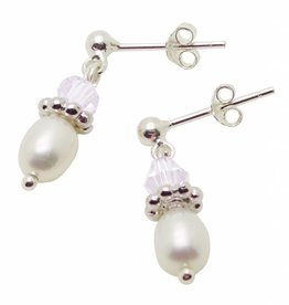 silver jewellery Freshwater Pearls & White crystal Silver Earings