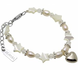 Star Girls Bracelet 'Star White' with Heart Charm
