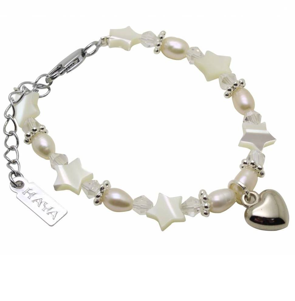 KAYA jewellery Girls Bracelet 'Star White' with Heart Charm