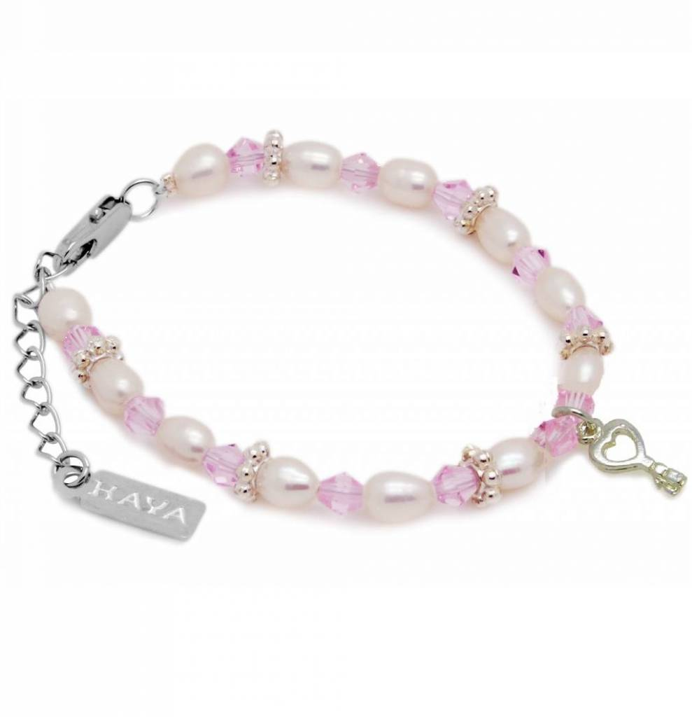 Infinity Beautiful Girls Bracelet 'Infinity Pink' with Key Charm