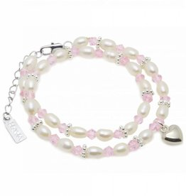 KAYA jewellery Luxury Girls Double Bracelet 'Infinity Pink' with Heart