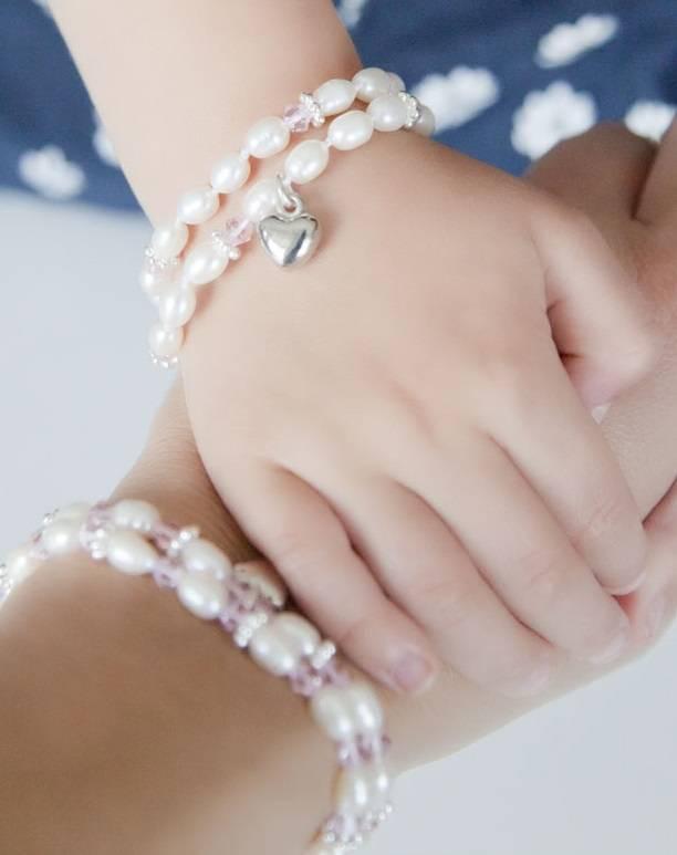 Infinity Luxury Girls Double Bracelet 'Infinity Pink' with Heart