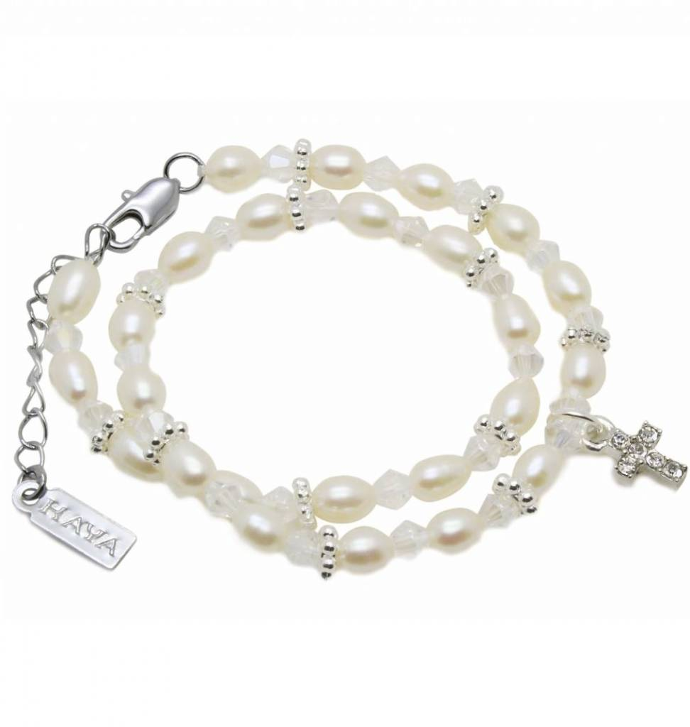 Infinity Luxury Double Christening - Communion Bracelet 'Infinity White' with Cross Charm