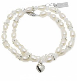 Infinity Luxury Girls Double Bracelet 'Infinity White' with Heart Charm