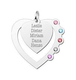 Engraved jewellery Names4ever Heart Pendant with birthstones in Silver