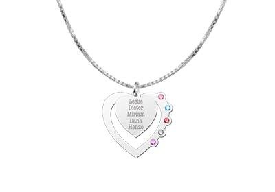 Engraved jewellery Heart Pendant with birthstones in Silver