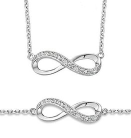 silver jewellery Silver Necklace & Bracelet 'Infinity Forever'